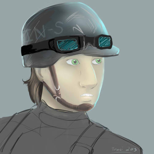 Speedpaint practice of Shae in a helmet. I actually lost interest in this fairly quickly.