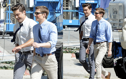 zefron:  Zac Efron and Dave Franco on the set of the movie 'Townies'