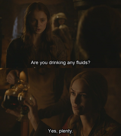 Ann: Are you drinking any fluids?Ron: Yes, plenty.  Animal Control - Episode 5.8