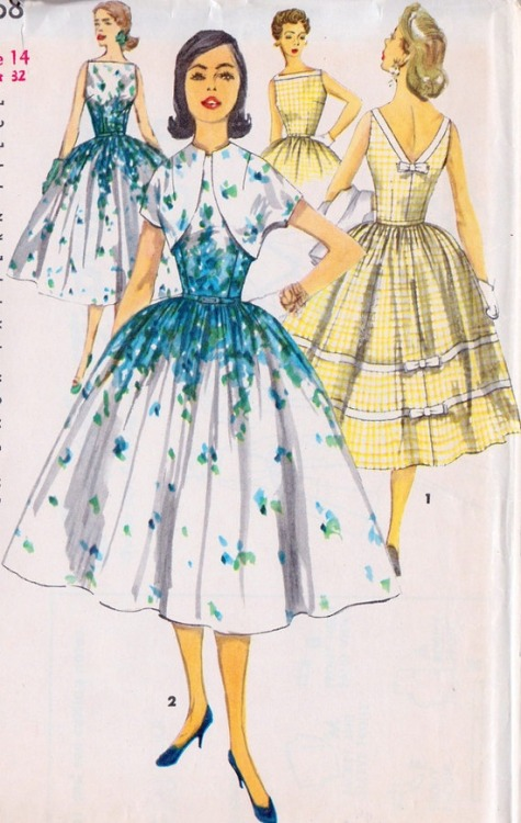 theniftyfifties:  1950s Misses summer party dress with bolero sewing pattern.   I love vintage clothes from the 50s