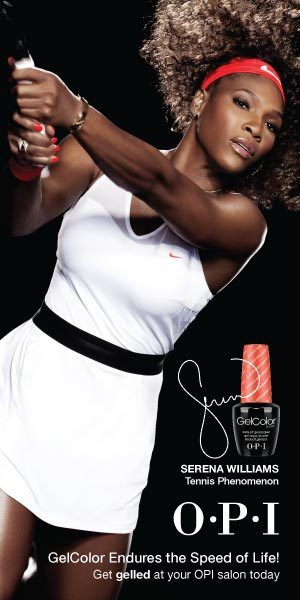 BEAUTY ON THE GO:  SERENA + OPI teamed up 'to kick off America's top tennis tournament in style!' I came across this AD and had to share. Not only do I love OPI's nail polish, I'm loving this campaign. A tennis champion and a champion nail polish teaming up to release a 'Glam Slam' line is pretty cool. It's a set of shades that compliment each other: a 'radiant, shimmering red and a super-shiny golden bronze.' You can rock them alone or together! Apparently, Serena has a 'burning passion for nails', even giving Oprah a pedicure on-air before! So, to team up with OPI was aligned in the stars! Her Glam Slam Collection is 'four sets of shades that represent the top four global tennis tournaments in Australia, France, England, and the U.S.! xo @rozOonTheGo Source: OPI