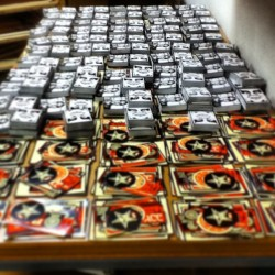 Sticker assembly line.  #obeygiant
