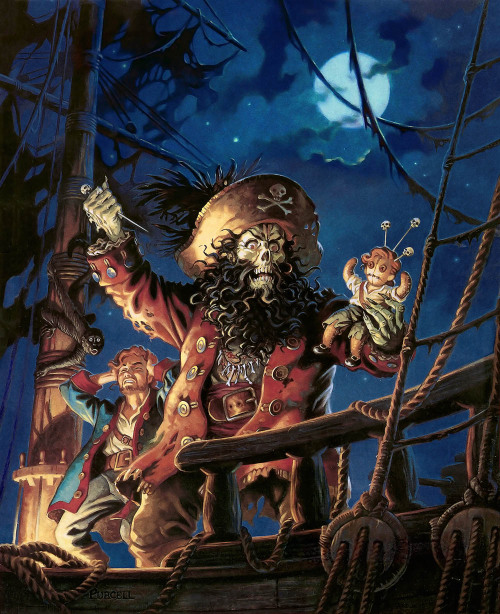 gameandgraphics:  LucasArts classic artworks : The Secret of Monkey Island (1990), Loom (1990), Monkey Island 2: LeChuck's Revenge (1991), Indiana Jones and the Fate of Atlantis (1992), Sam & Max Hit The Road (1993), Day of the Tentacle (1993),  Full Throttle (1995).