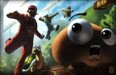 otlgaming:  MUSHROOM KINGDOM RAMPAGE Eric Ridgeway's latest piece features Mario and Luigi going ape sh** in the mushroom kingdom. While the insanity is similar to other versions of Mario we've seen, there's something over the top and demented about Ridgeway's design.  Eric may call the piece Mushroom Rampage, but I when I look at all I can think of is Mario and Luigi decimating the mushroom kingdom with Party Up in Here blasting in the background.  Y'all gon' make me lose my mind…