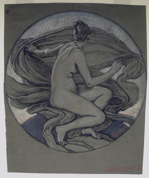 "centuriespast:  Artist: Elihu Vedder Drawing, ""pastel nude torso of female model"", ca. 1892. National Design Museum  ㄷ"