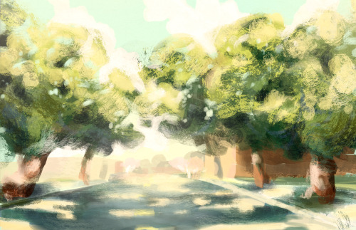 A speed painting made from memory of the UC Davis campus.