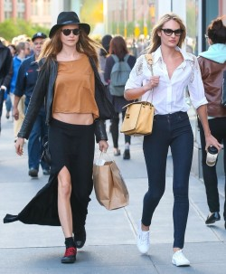 candiceswanepoelfashionstyle:  Behati Prinsloo & Candice Swanepoel Shopping In NYC #4