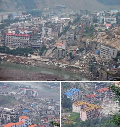 BEICHUAN, China (Ghost City/Abandoned City) Ravaged by the Sichuan earthquake of 2008, the tragic city of Beichuan has become one of Asia's modern day ghost towns.  Like some of the great cities of classical times, much of Beichuan was destroyed when the quake shook this peaceful landscape, its remaining buildings standing – just about – amid a scene of sheer destruction.  To put the tragedy into perspective, in a town with a population of 20,000, over 1,000 students lost their lives at Beichuan high school alone when two buildings collapsed on the campus.  Survivors were relocated after the town was deemed too vulnerable to rebuild.  It is set to become a memorial park.