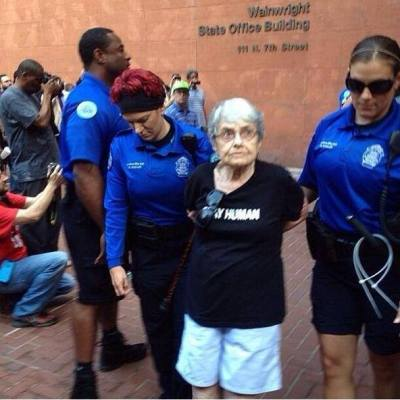 """misandry-mermaid:  thoughtsofablackgirl:  Hedy Epstein, a 90-year-old Holocaust survivor was arrested on Monday during unrest in FergusonEpstein, who aided Allied forces in the Nuremberg trials, was placed under arrest """"for failing to disperse."""" 8 others were also arrested. """"I've been doing this since I was a teenager. I didn't think I would have to do it when I was ninety,""""Epstein told The Nationduring her arrest. """"We need to stand up today so that people won't have to do this when they're ninety."""" Epstein is currently an activist and a vocal supporter ofthe Free Gaza Movement.  I hope her arresting officers feel REEEEAL good about their life choices that led up to this moment, because arresting a holocaust survivor for using her first amendment rights is some next-level bullshittery."""