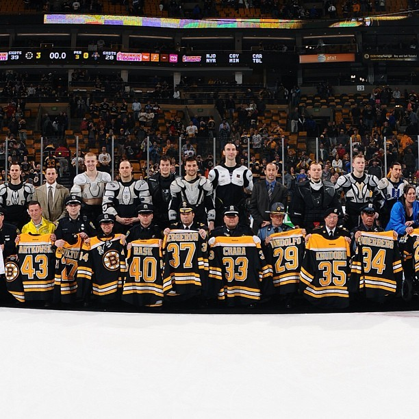"nhlbruins:  The B's gave their jerseys to first responders as part of ""Shirts Off Their Backs"" following today's game"
