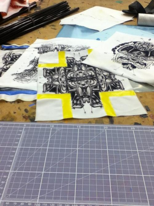 ayooseo:  Some Sublimation Prints for a Future Materials project revolved around the Tate Modern, these prints are based on old diagrams of Oil Fired Generators & Turbine Engines which I have manipulated & made into new hybrid forms