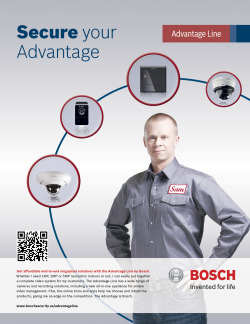 Advantage Line Bosch Security Systems full page advertisement design.