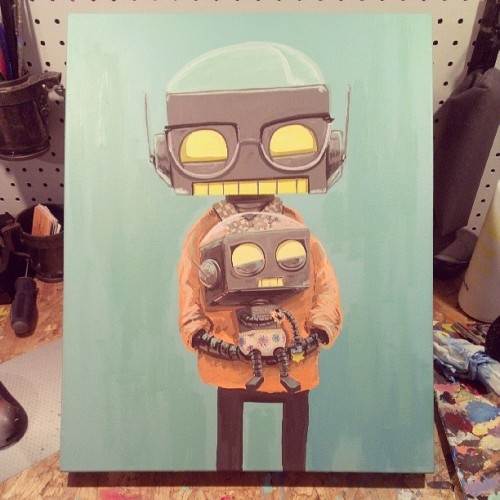 mattqspangler:  Daddy and baby robot commission is almost complete! #commission #painting #forhire #robot #babyrobot #dadrobot