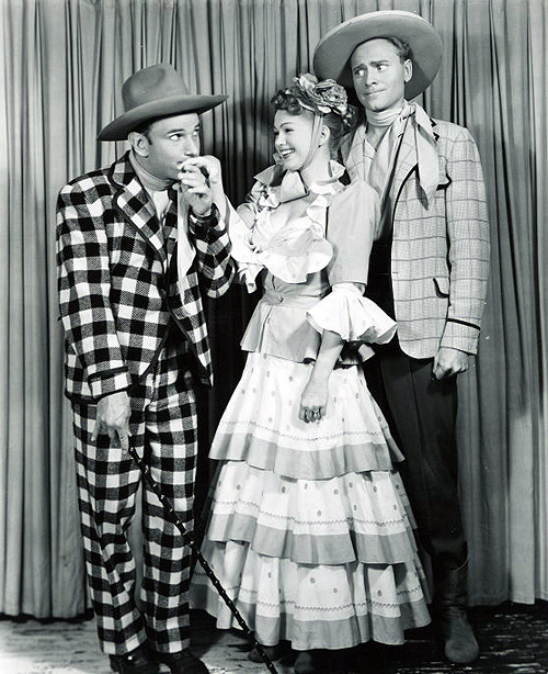 Barbara Cook, David LeGrant and Harris Hawkins in a promotional photo for Oklahoma! (1953).