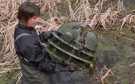 "girlwithlandscape:  Doctor Who Dalek found in pond - Telegraph  ""A Dalek from Doctor Who was found submerged in a pond by volunteers enlisted to clear it of rubbish. The group had already fished out an old table football game and a skateboard when they bumped into the Dalek head, which was covered in weeds.  Sales executive Marc Oakland was pushing a rake around the bed of the shallow pool when he found the object with its distinctive eye stalk. The 42-year-old said: ""I'd just shifted a tree branch with my foot when I noticed something dark and round slowly coming up to the surface.""    This is amazing on so many levels that I don't even know where to start."