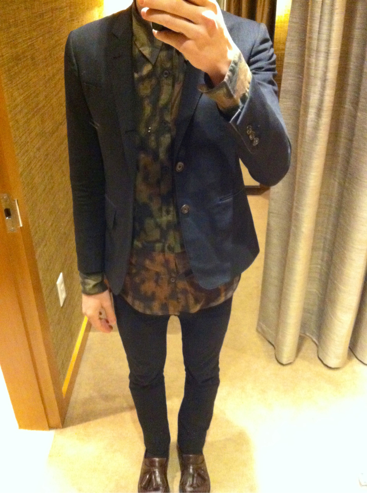 nickelcobalt:  bostonroll:  At work today: Thom Browne blazer Dries ss13 sheer camo shirt Saint Laurent Paris ss13 jeans Burberry Prorsum aw11 tassle loafers  Sean flexing on your ss13
