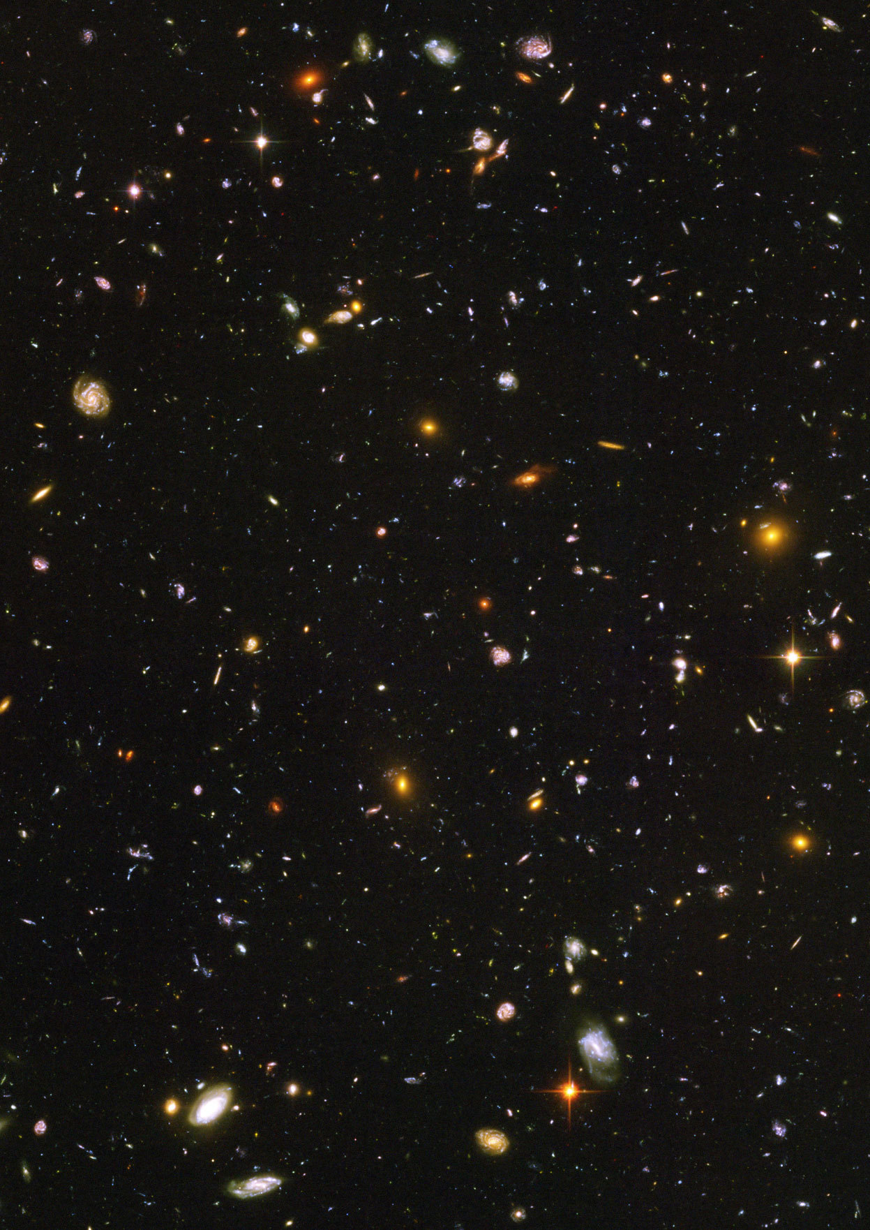 "Day 20 of the 2012 Hubble Space Telescope Advent Calendar, one of 25 photos (eventually). Galaxies, galaxies everywhere - as far as the NASA/ESA Hubble Space Telescope can see. This view of thousands of galaxies is the deepest visible-light image of the cosmos. part of what is called the Hubble Ultra Deep Field, this galaxy-studded view represents a ""deep"" core sample of the universe, cutting across billions of light-years. The snapshot includes galaxies of various ages, sizes, shapes, and colors. The smallest, reddest galaxies, about 100, may be among the most distant known, existing when the universe was just 800 million years old. The nearest galaxies - the larger, brighter, well-defined spirals and ellipticals - thrived about 1 billion years ago, when the cosmos was 13 billion years old. In vibrant contrast to the rich harvest of classic spiral and elliptical galaxies, there is a zoo of oddball galaxies littering the field. Some look like toothpicks; others like links on a bracelet. A few appear to be interacting. These oddball galaxies chronicle a period when the universe was younger and more chaotic. Order and structure were just beginning to emerge. The Ultra Deep Field observations, taken by the Advanced Camera for Surveys, represent a narrow, deep view of the cosmos. In ground-based photographs, the patch of sky in which the galaxies reside (just one-tenth the diameter of the full Moon) is largely empty. Located in the constellation Fornax, the region is so empty that only a handful of stars within the Milky Way galaxy can be seen in the image. The image required 800 exposures taken over the course of 400 Hubble orbits around Earth. The total amount of exposure time was 11.3 days, taken between Sept. 24, 2003 and Jan. 16, 2004. (NASA, ESA, and S. Beckwith (STScI) and the HUDF Team)"