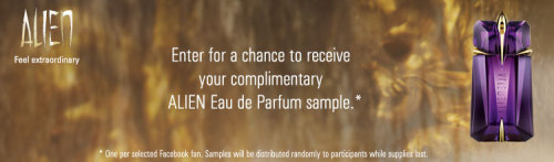 Free Thierry Mugler Alien fragrance Sample!  (via Alien Eau de Parfum, Thierry Mugler Online Boutique, Main category for all Merchandising Categories - Thierry Mugler)