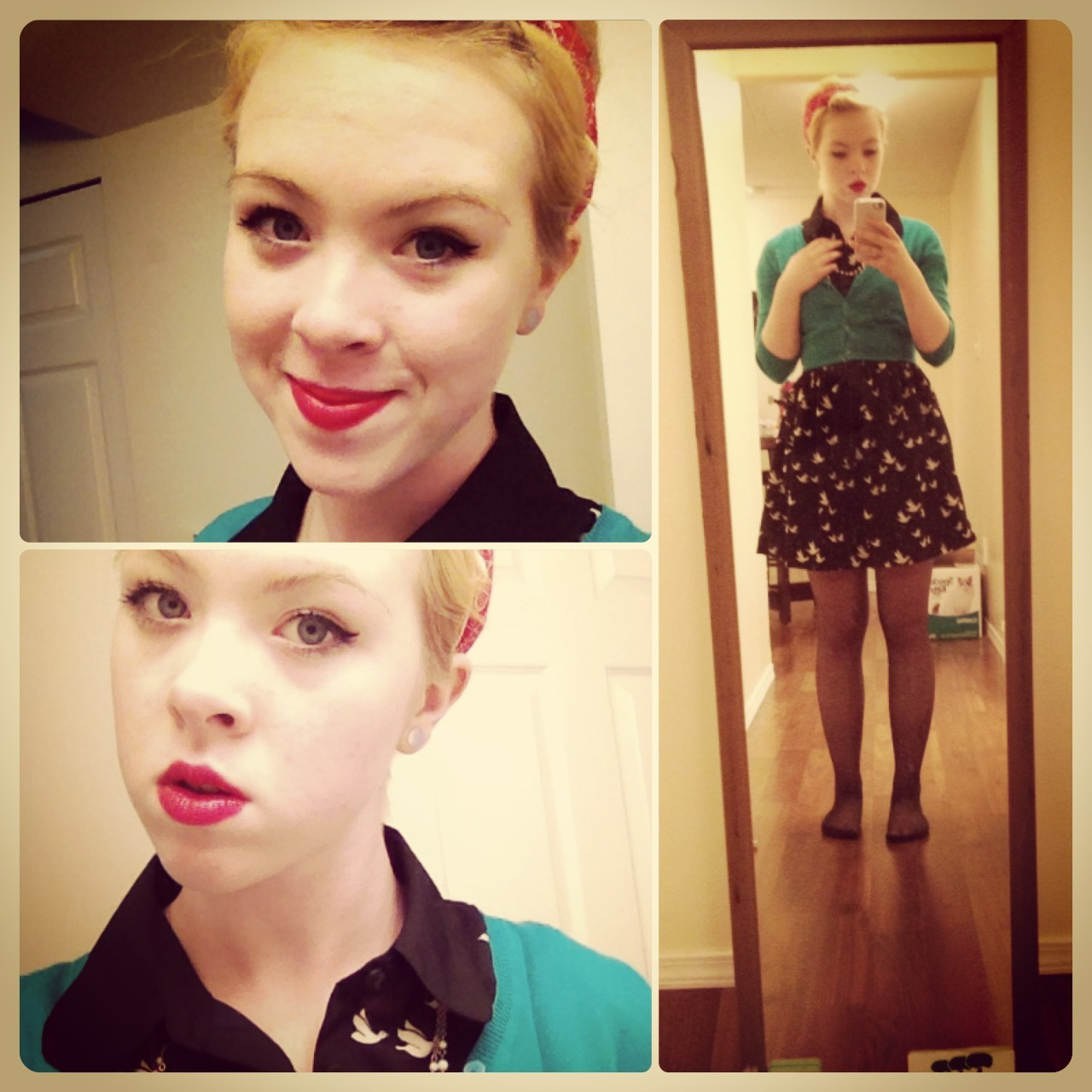 outfit post from last night! went to see the Great Gatsby with the boyfriend and some friends. dress is from Forever 21, cardi is Old Navy. my bandana is from the dollar store~