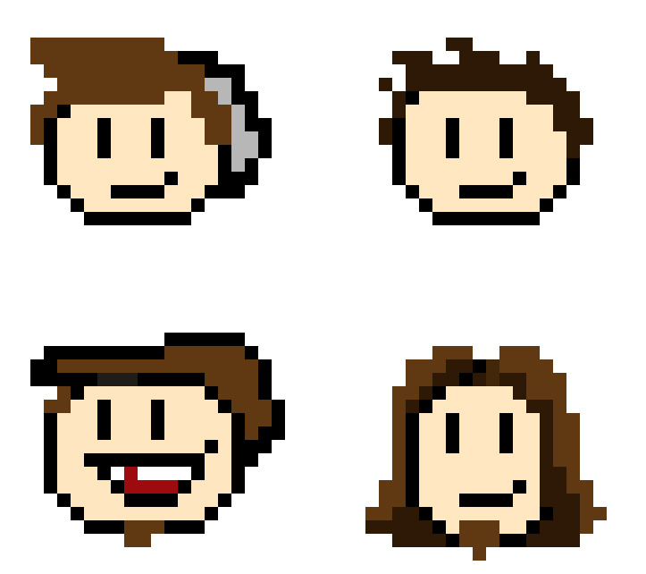 Made some Extra Credits 8-bit heads. Dan gave me the idea the other day.  Maybe we'll turn them into buttons to sell :)