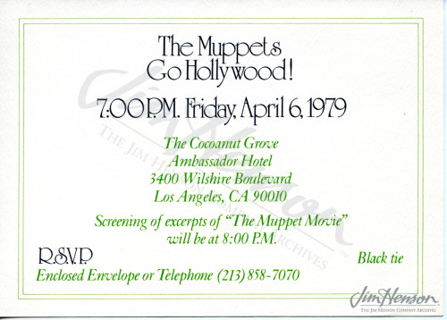 Invitation to The Muppets Go Hollywood party explaining to guests that they might be taped for a television special.