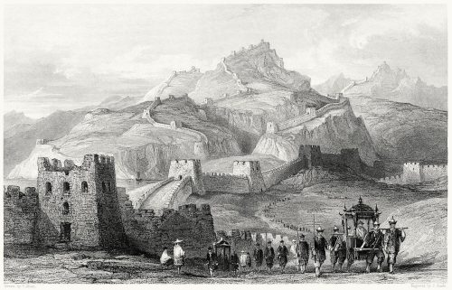 The great wall of China.  Thomas Allom, from China vol. 1, by George N. Wright, London, 1843.  (Source: archive.org)