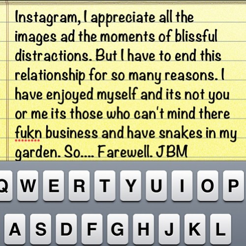 Dear John letter to my Instagram followers. ( for the fukn trouble makers this is not individual specific - actually, it's to you).