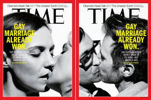 "The latest issue of TIME Magazine proclaims marriage equality ""already won"", regardless of the Supreme Court's imminent rulings. ""The Supreme Court hasn't made up its mind - but America has"" reads the cover."