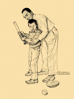 Batting Lesson, art by Norman Rockwell.