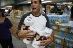 "violentwaters:  Bathroom Blues: Venezuela's Toilet Paper Crisis http://newsfeed.time.com/2013/05/17/bathroom-blues-venezuelas-toilet-paper-crisis/ Holy Crap! Please don't get upset…I find this tragically hilarious. Eek! I'm going to Hell. Wait! I don't believe in Hell. Ok- I'm good. : p Here come the haters. : /  But socialist President Nicolás Maduro (who was hand-picked by Chavez to succeed him) blamed the toilet-paper shortage on ""antigovernment forces,"" reports the Associated Press. While pledging to rectify the situation, Commerce Minister Alejandro Fleming pointed the finger at the media, which he accused of purposely creating ""excessive demand"" for toilet paper in order to disrupt the country. Whatever the cause of the current crisis, Fleming confirmed that he was taking drastic action: ""The revolution will bring 50 million rolls of toilet paper,"" he said, adding: ""We are going to saturate the market so that our people calm down."" xd Read more: http://newsfeed.time.com/2013/05/17/bathroom-blues-venezuelas-toilet-paper-crisis/#ixzz2TsxFjheA"