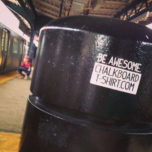 Oh look. Somebody put a sticker on the trash can. #Guerilla #Marketing #NYC #JMZ #BeAwesome #Sticker