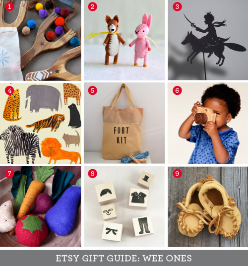 Etsy Gift Guide: Wee Ones Oh, how fun this one was! I dare say I've saved the bet for last. One of my favorite things to window shop for on Etsy is handmade toys. I pretty much want all of this for myself. Anyone who feels similarly can join me in my blanket fort for a pom-pom fight and shadow puppet show. Bring your own snacks—and that child in the photo for number 6, who I now adore. 1. Wooden Slingshot with Pom Pom Ammo 2. Little Felt Pocket Animals 3. The Little Prince Shadow Puppet 4. New Friends Art Print by Laura Gee 5. Fort Building Kit 6. Wooden Toy Camera 7. Wool Felt Play Food 8. Bernard & Tipton Stamp Creation Set 9. Buckskin Baby Moccasins Find more gifts for me imagination starters on Pinterest! Thanks for rocking with me through all six gift guides! I found a ton of cool new shops and lots of gift ideas I didn't even know were out there, so I hope you did too. Now shop handmade and be merry!