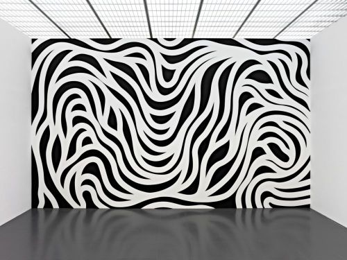 Sol LeWitt, Wall Drawing #879, Loopy Doopy (black and white) (1998).