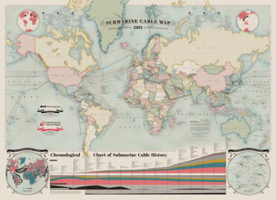 The Submarine Cable Map 2013 Randy, coolinfographics.com A beautiful map of the World's undersea Internet cables, The Submarine Cable Map 2013. Brought to us be TeleGeography, sponsored by Telecom Egypt and design credit is listed as Nick Browning, Markus Krisetya, Larry Lairson, Alan Mauldin.Cables…