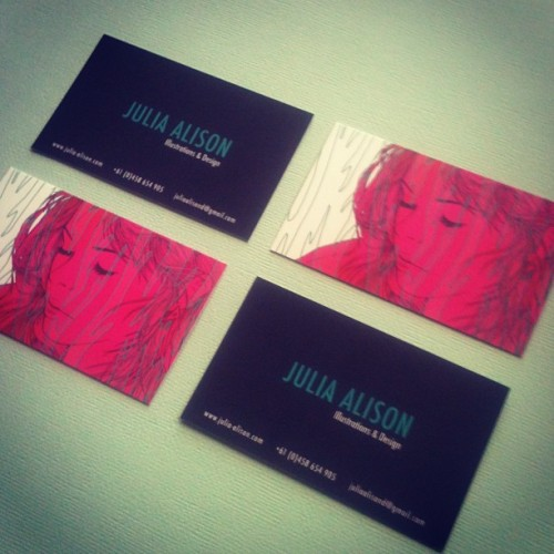 Seeing as we're talking about business cards, here are mine. The green line work has a spot UV varnish on it. Sorry my iPhone 3 has a terrible camera! do they have Instagram for ipad?