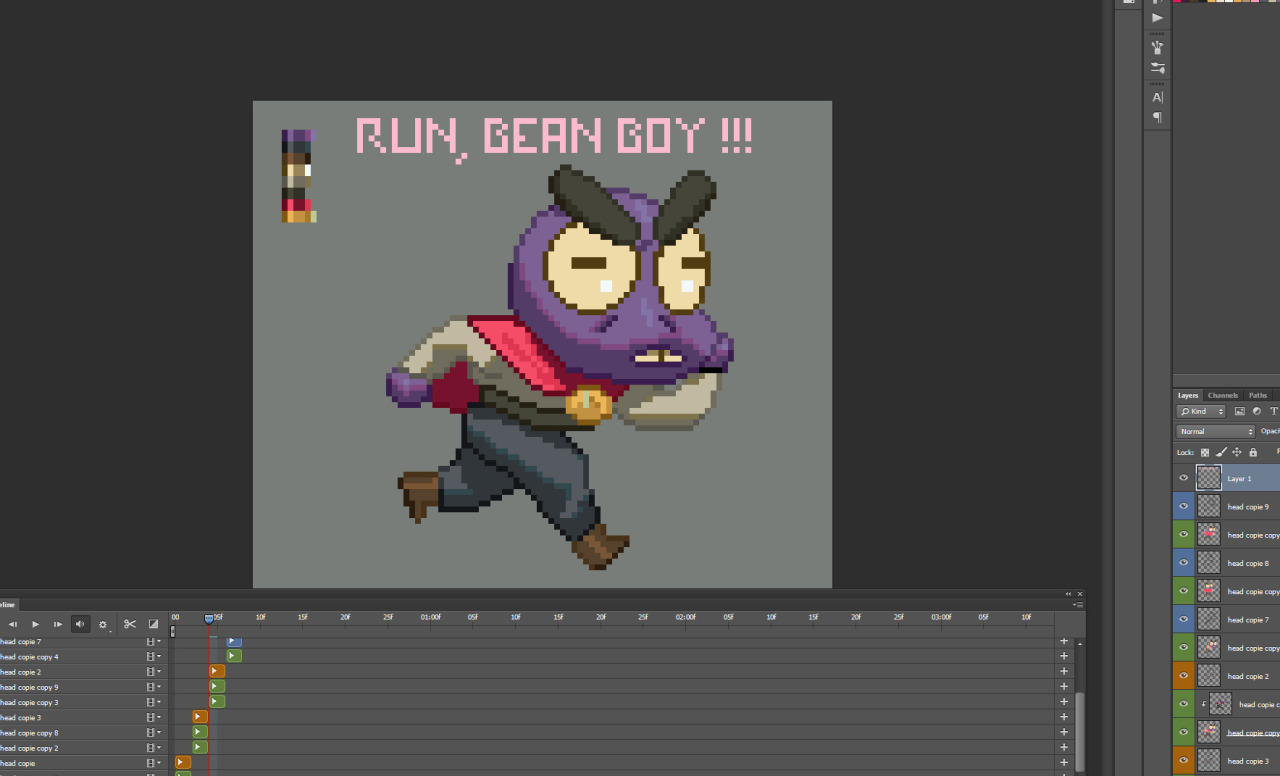 in the process of animating my first running sprite, thanks for all the links and shit, it was really helpfull!