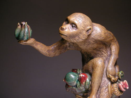 "Incredible work of Vintage Chinese Foshan Shiwan Figurine. Rare monkey figure presenting a fruit. Circa: 20th century, China. Height: 11-1/2"" inches"