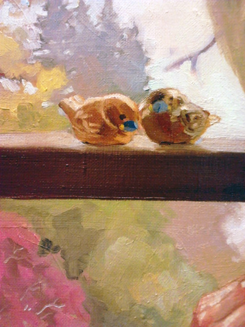 Little wooden birds on a windowsill, detail from this workPortrait of a Girl in Floral SwimsuitYou can tell by how crusty the surface is that I've been working on this for too long :I