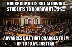 liberalsarecool:  The GOP hates students, loves their debt payments.