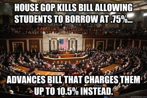 "andrysb24:  colorfuloddity:  liberalsarecool:  The GOP hates students, loves their debt payments.  Apposite as I am deferring my student loans AGAIN this month, two years after I've graduated because THEY ARE ALMOST IF NOT MORE EXPENSIVE THAN THE AMOUNT I SPEND ON FOOD IN A MONTH AND I CANNOT AFFORD THE PAYMENT fuck this.  I am currently in the same pickle. I'm trying to prove I qualify for deferment so I can save up just to get back on my feet. On my account that is past due I owe $1,500, just in what is delinquent charges (all my loans combined total to well over $20,000), and my mom keeps saying, ""Why don't you just pay that off already, they'll keeping piling on.""  Oh I don't know maybe because I don't FUCKING have the money.  If I had the money I would. I wish $1,500 would just drop from the sky on my lap. I have like 222.98 in the bank, after sending in my entire paycheck just now. I know I need another job (or two) but it's still really hard to find one.  I took me forever just to find the one I have (and I still don't feel secure there.) Why is it so expensive to get a college education?"