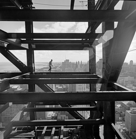 Going up  artlog:  In Ezra Stoller's photographs, buildings are pristine machines from a utopian future, just as their architects envisioned them.