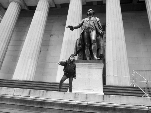 Sandy Kim in front of Federal Hall in the greatest city in the world!  Photo by Brad Elterman