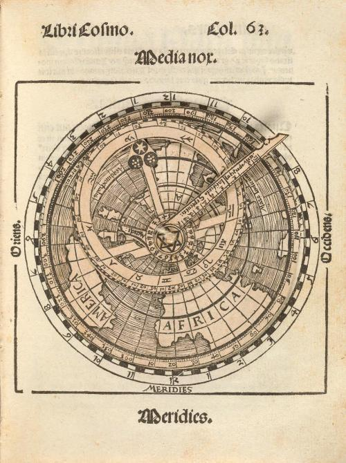 from the first edition of Peter Apianus' Cosmographicus liber (1524) a volvelle or movable diagram showing a map of the world including America!