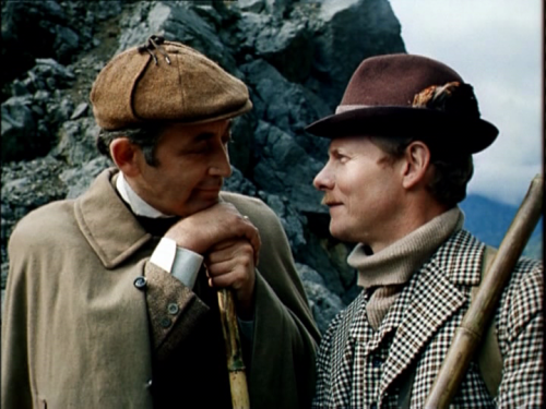 bakerstreetbabes:  buddy2blogger:  Sherlock Holmes and Dr Watson at the Reichenbach Falls  I JUST WANT TO SQUOOSH THEM!  SO SQUOOSHY
