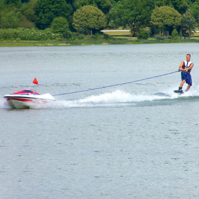 Cough up $17,000 and you can water ski by yourself with this Skier Controlled Tow Boat.