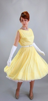 Sale  Vintage 1950s Bright Pastel Yellow Party Prom by gogovintage via [Enzie Shahmiri Designs]