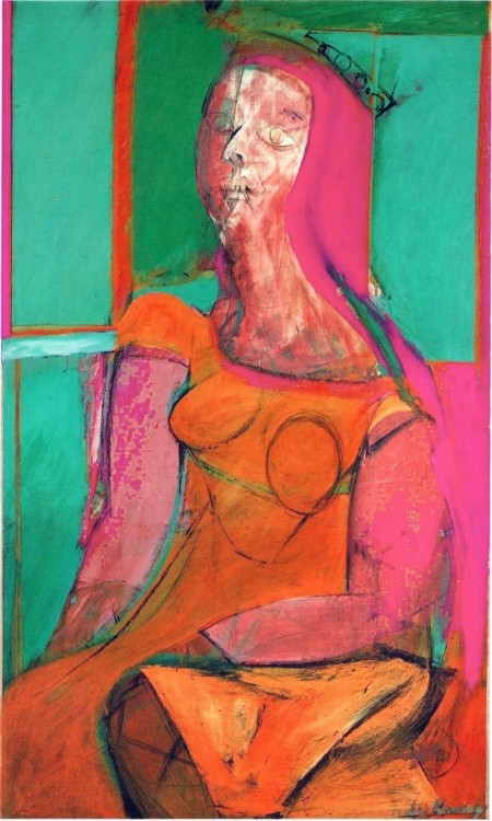 drawpaintprint:  Willem de Kooning: Queen of Hearts (1943-46)