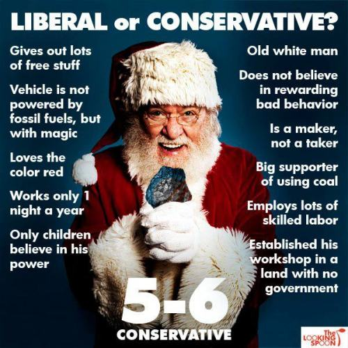 republican101:  Is Santa Liberal or Conservative?:)  Pretty funny breakdown.  Though I believe Santa made up his own political-economic systems that predate the U.S.  So labeling him by American definitions is futile.  He simply exists outside our reality.