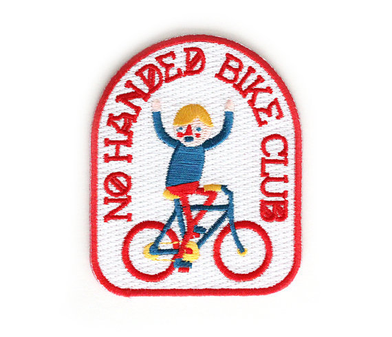 littlealienproducts:  No Handed Bike Club Iron On Patch // $6  I need this patch!