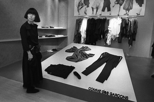 Rei Kawakubo at the opening of her Comme des Garçons shop in Henri Bendel in 1983.